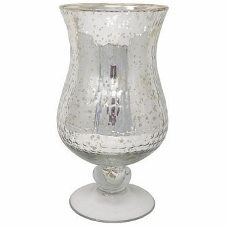 Large Mercury Glass Hurricane Candle Holder Silver