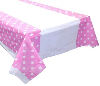 Large Plastic Rectangular Tablecloth/Cover - 5 Pack - (87-Inch L x 52-Inch W) - Polka Dot Pattern: Baby Pink - Premier