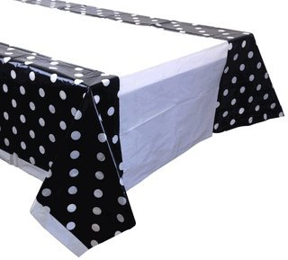Large Plastic Rectangular Tablecloth/Cover - 5 Pack - (87-Inch L x 52-Inch W) - Polka Dot Pattern: Black - Premier