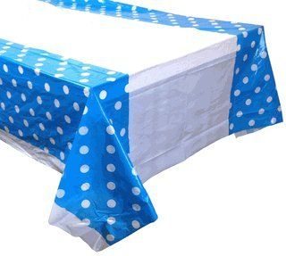 Large Plastic Rectangular Tablecloth/Cover - 5 Pack - (87-Inch L x 52-Inch W) - Polka Dot Pattern: Blue - Premier