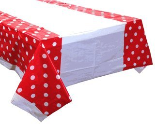 Large Plastic Rectangular Tablecloth/Cover - 5 Pack - (87-Inch L x 52-Inch W) - Polka Dot Pattern: Fuchsia - Premier