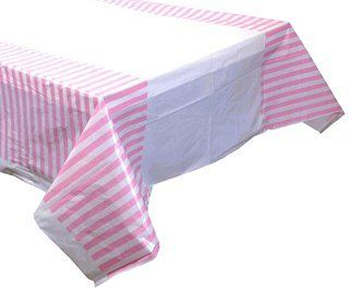 Large Plastic Rectangular Tablecloth/Cover - 5 Pack - (87-Inch L x 52-Inch W) - Striped Pattern: Baby Pink - Premier