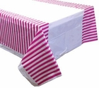 Large Plastic Rectangular Tablecloth/Cover - 5 Pack - (87-Inch L x 52-Inch W) - Striped Pattern: Fuchsia - Premier