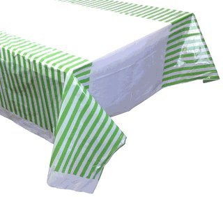 Large Plastic Rectangular Tablecloth/Cover - 5 Pack - (87-Inch L x 52-Inch W) - Striped Pattern: Green Apple - Premier