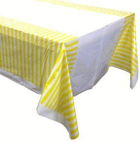 Large Plastic Rectangular Tablecloth/Cover - 5 Pack - (87-Inch L x 52-Inch W) - Striped Pattern: Lemon Yellow - Premier