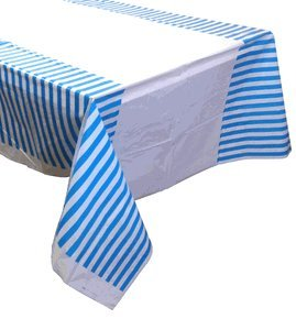 Large Plastic Rectangular Tablecloth/Cover - 5 Pack - (87-Inch L x 52-Inch W) - Striped Pattern: Powder Blue - Premier