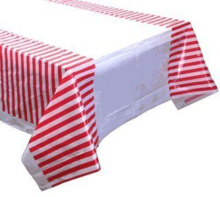 Large Plastic Rectangular Tablecloth/Cover - 5 Pack - (87-Inch L x 52-Inch W) - Striped Pattern: Red - Premier