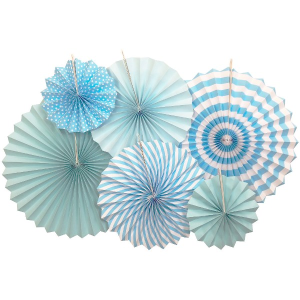Light Blue and White Paper Pinwheel Decorating Kit 6pcs