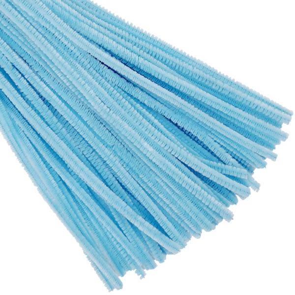 Light Blue Chenille Stem Pipe Cleaners 100pcs