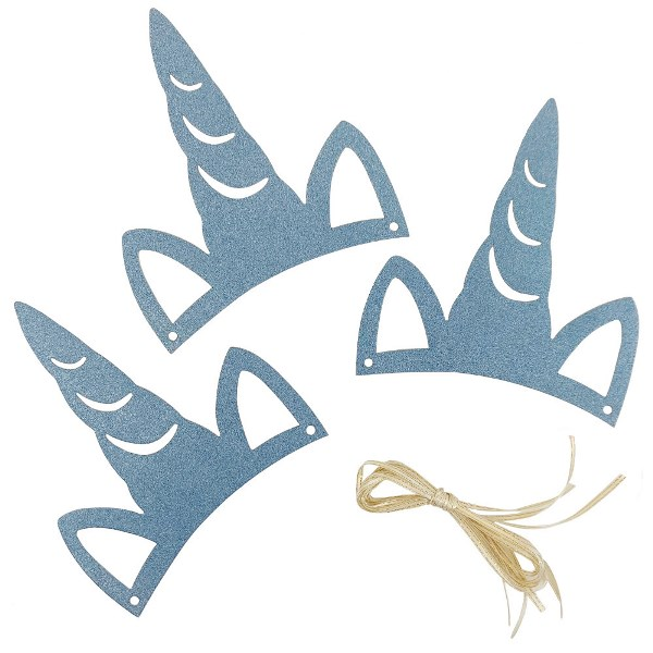 Light Blue Glitter Unicorn Party Headband 3pcs