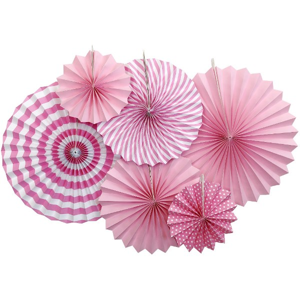 Light Pink and White Paper Pinwheel Decorating Kit 6pcs