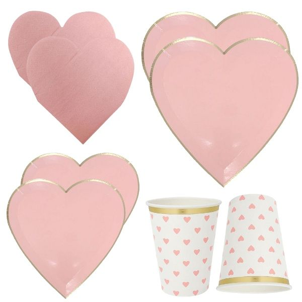 Light Pink Hearts Tableware Kit 39pcs - Premier