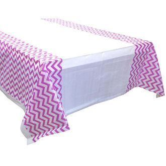 Light Purple Chevron Plastic Tablecloth