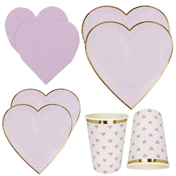 Light Purple Hearts Tableware Kit 39pcs - Premier