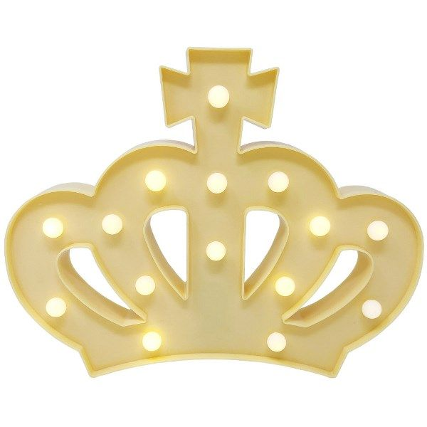 Light Yellow Crown 9in Marquee LED Battery Operated Light