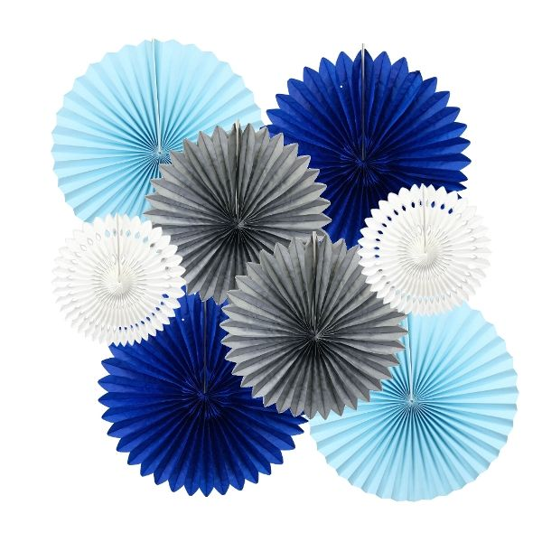 Little Boy Blue Pinwheel and Tissue Fan Decorating Kit 8pcs