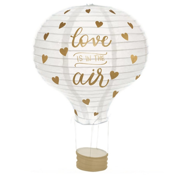 Love Is In The Air Gold Hot Air Balloon Paper Lantern 12in