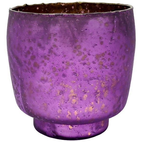 Luxe Glass Candle Holder Plum Purple Kebi