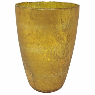 CLEARANCE Luxe Glass Large Candle Holder Gold Nubiti
