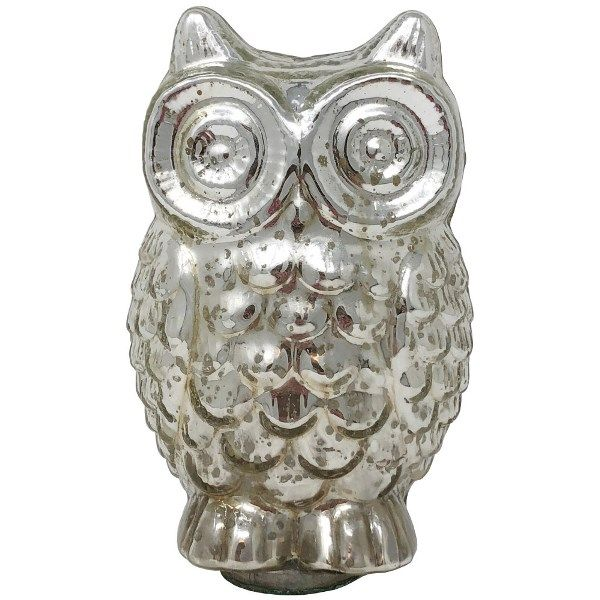 Medium Mercury Glass Owl Figurine Silver