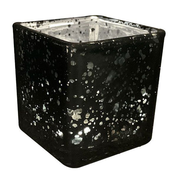 "Mercury Glass Candle Holder 2"" Speckled Black (Square)"
