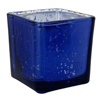 "Mercury Glass Candle Holder 2"" Speckled Navy (Square)"
