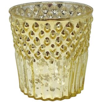Mercury Glass Candle Holder Gold Ophelia