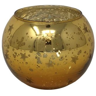 Mercury Glass Candle Holder Gold Selena