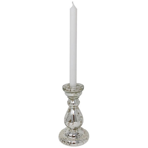 Mercury Glass Candlestick Silver Nora