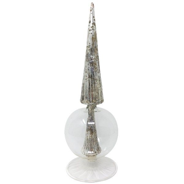 Mercury Glass Decorative Cassia Finial Silver