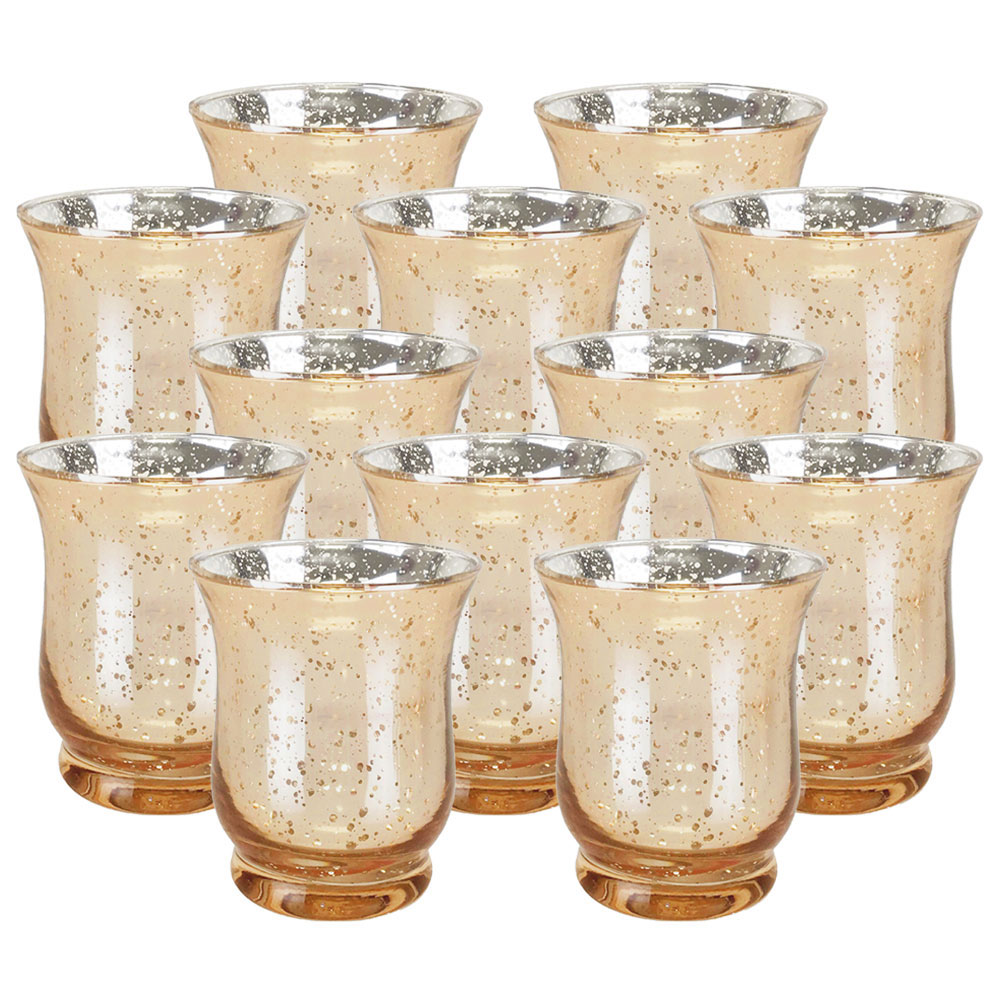 "Mercury Glass Hurricane�Votive�Candle Holder 3.5""H�(12pcs,�Speckled Gold) - Premier"