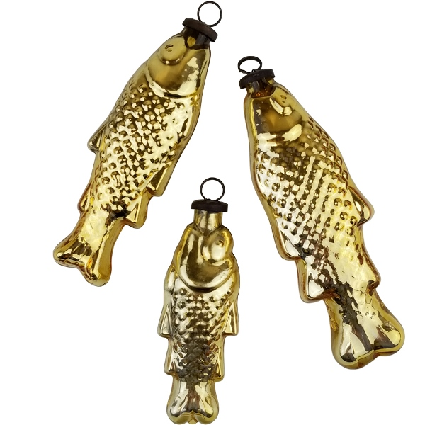 Mercury Glass Ornament 3pcs Fish Gold