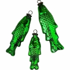 Mercury Glass Ornament 3pcs Fish Green