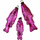 Mercury Glass Ornaments 3pcs Fish Fuchsia