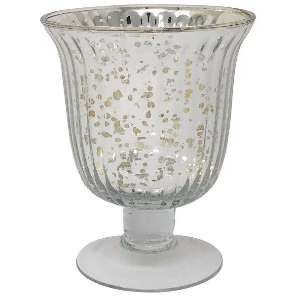 Mercury Glass Urn Candle Holder Silver Emma