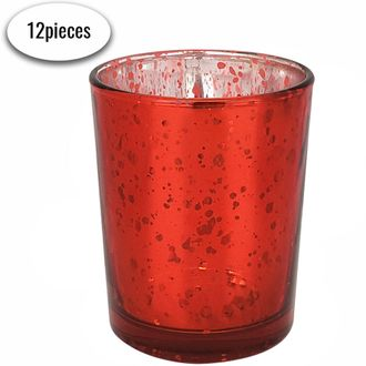 """Mercury Glass Votive Candle Holder 2.75""""H (12, Speckled Red)"""