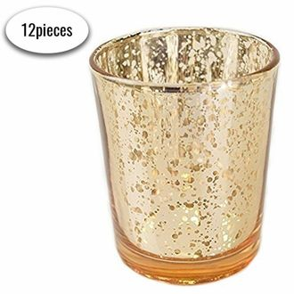"Mercury Glass Votive Candle Holder 2.75""H (12pcs, Speckled Gold) - Premier"