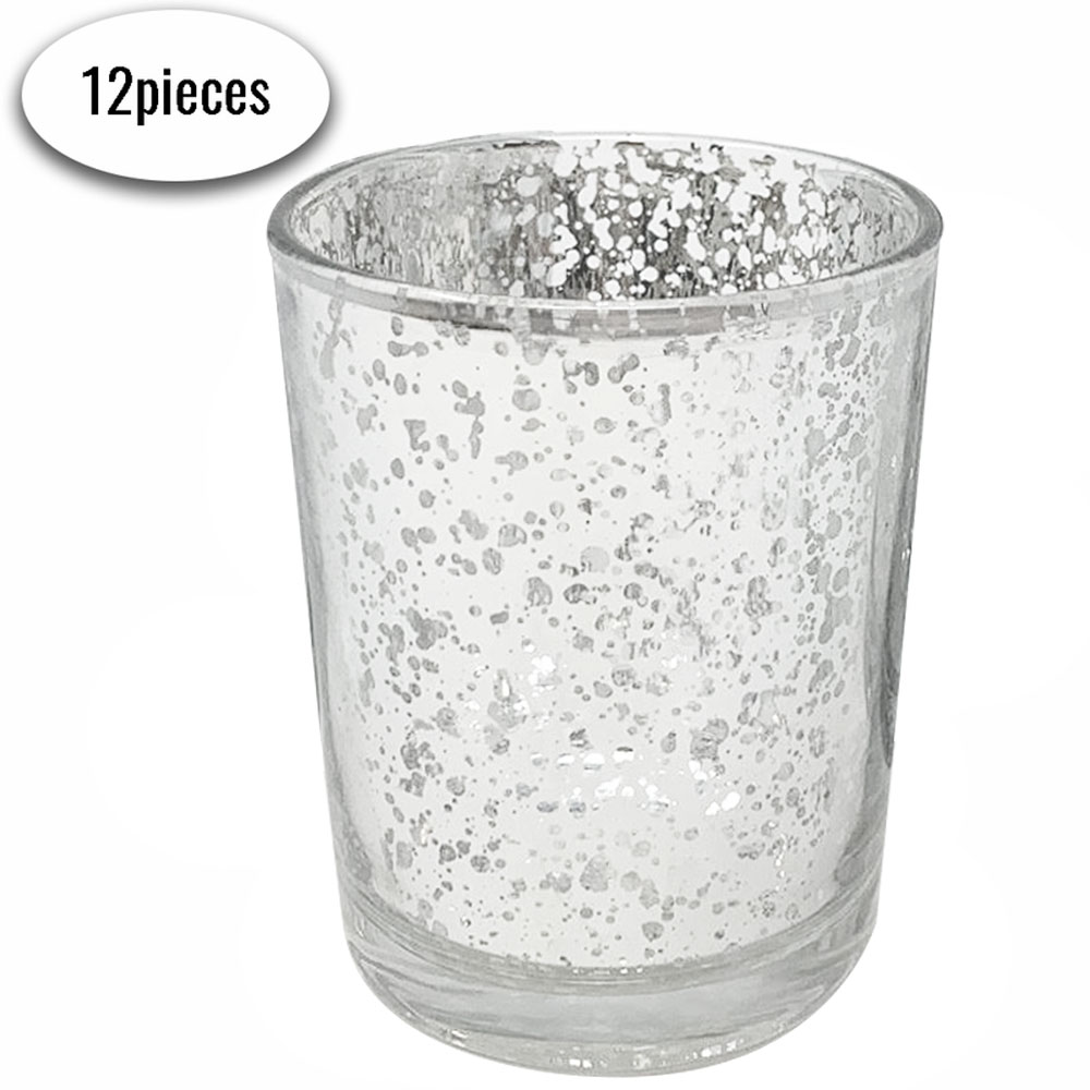 "Mercury Glass Votive Candle Holder 2.75""H (12pcs, Speckled Silver) - Premier"