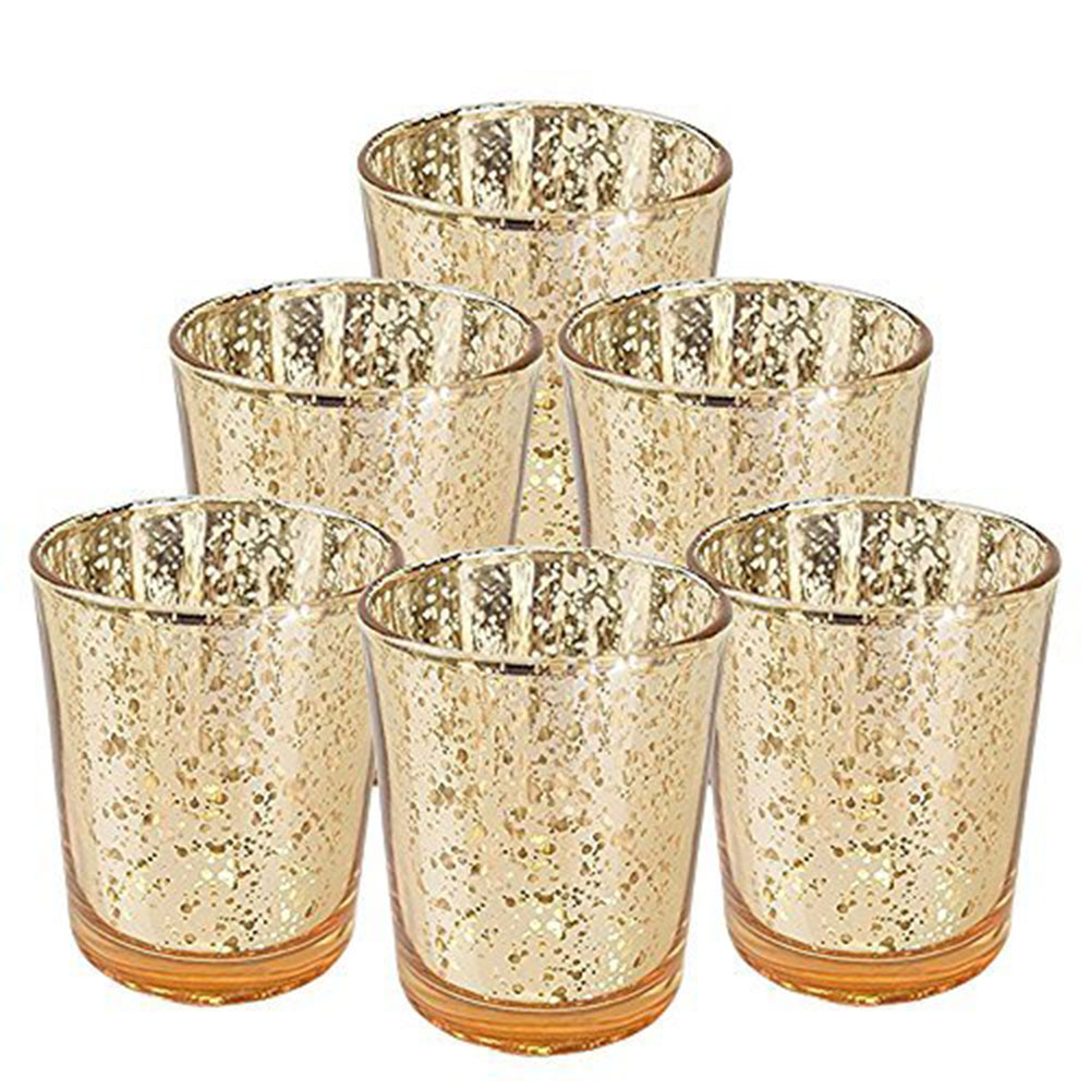 "Mercury Glass Votive Candle Holder 2.75""H (6pcs, Speckled Gold) - Premier"