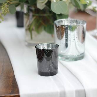 "Mercury Glass Votive Candle Holder 2.75""H Speckled Black"