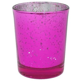 "Mercury Glass Votive Candle Holder 2.75""H Speckled Fuchsia"