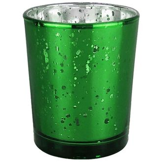 """Mercury Glass Votive Candle Holder 2.75""""H Speckled Kelly Green"""