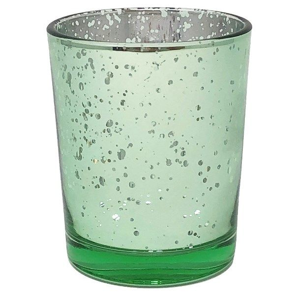 "Mercury Glass Votive Candle Holder 2.75""H Speckled Mint"