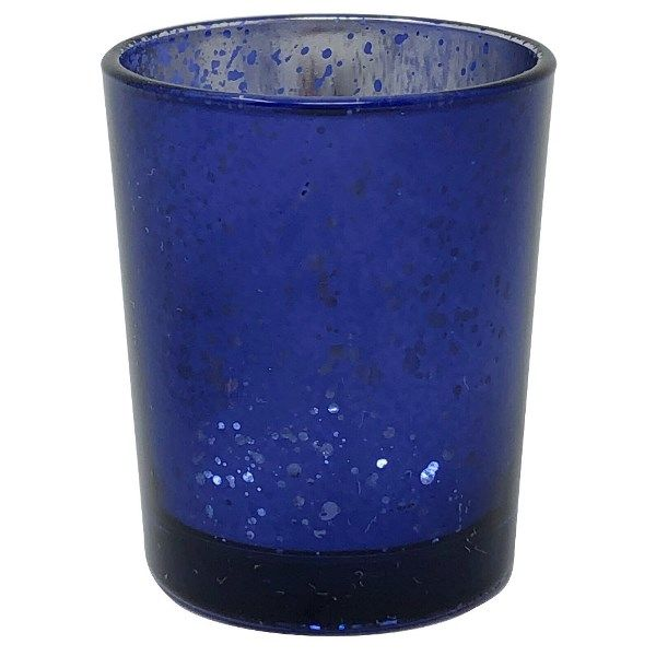 "Mercury Glass Votive Candle Holder 2.75""H Speckled Navy Blue"