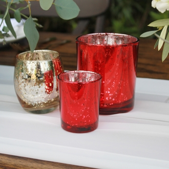 "Mercury Glass Votive Candle Holder 2.75""H Speckled Red"