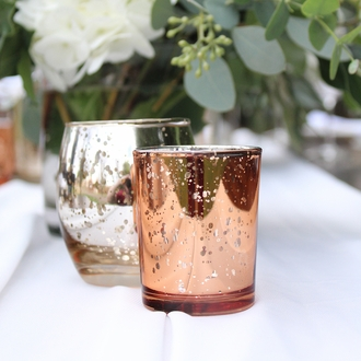 "Mercury Glass Votive Candle Holder 2.75""H Speckled Rose Gold"