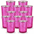 Mercury Glass Votive Candle Holder 2.75-Inch (12pcs, Speckled Fuchsia) - Premier
