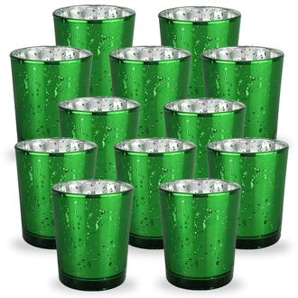 Mercury Glass Votive Candle Holder 2.75-Inch (12pcs, Speckled Kelly Green) - Premier