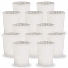 Mercury Glass Votive Candle Holder 2.75-Inch (12pcs, Speckled Matte White) - Premier