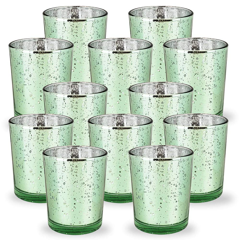 Mercury Glass Votive Candle Holder 2.75-Inch (12pcs, Speckled Mint) - Premier